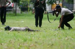 INDONESIA POLICE ANTI GUERILLA COURSE Stock Image