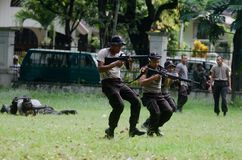 INDONESIA POLICE ANTI GUERILLA COURSE Stock Photography