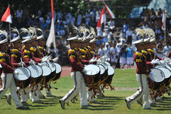 Indonesia Police Marching Band Royalty Free Stock Photography