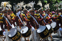 Indonesia Police Marching Band Stock Photo