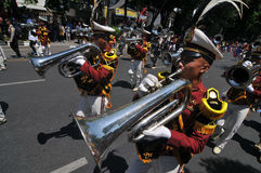 Indonesia Police Marching Band Royalty Free Stock Photo