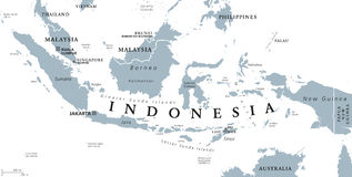 Indonesia political map. With capital Jakarta, islands, neighbor countries Malaysia, Singapore, Brunei, East Timor and capitals. Gray illustration with English Royalty Free Stock Image