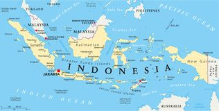 Indonesia Political Map. With capital Jakarta, national borders and important cities. English labeling and scaling. Illustration Royalty Free Stock Photo
