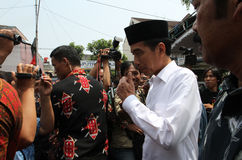 Indonesia President. Joko Widodo answering reporters' questions in the city of Solo, Central Java, Indonesia Stock Photo