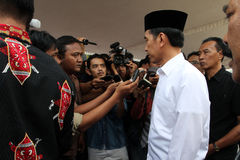 Indonesia President. Joko Widodo answering reporters' questions in the city of Solo, Central Java, Indonesia Stock Photos