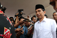Indonesia President. Joko Widodo answering reporters' questions in the city of Solo, Central Java, Indonesia Stock Image