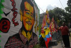 INDONESIA PRESIDENT KITE. A vendor sells kites which have the face of newly elected President Joko Widodo painted on,  on Slamet Riyadi Street, Solo, Java Stock Image
