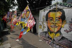INDONESIA PRESIDENT KITE. A vendor sells kites which have the face of newly elected President Joko Widodo painted on,  on Slamet Riyadi Street, Solo, Java Stock Photo