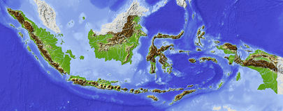 Indonesia, relief map. Indonesia. Shaded relief map. Surrounding territory greyed out. Colored according to elevation. Includes clip path for the state area Royalty Free Stock Image