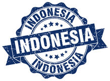 Indonesia round ribbon seal Stock Images