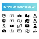 Indonesia Rupiah currency icon set in solid and outline style stock illustration