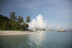 Indonesia, sea, beautiful beach with palm trees Royalty Free Stock Image