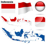 Indonesia set. Detailed country shape with region borders, flags and icons isolated on white background Stock Image