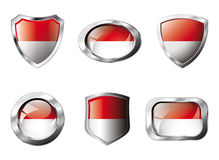 Indonesia set shiny buttons and shields of flag Royalty Free Stock Images