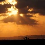 indonesia solnedgång Arkivfoto