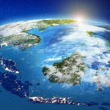 Indonesia - Sulawesi, Kalimantan, Java, Bali and Sumatra, island. S. Elements of this image furnished by NASA. 3d rendering royalty free illustration
