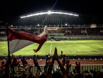 Indonesia Supporters at Pekansari Stadium. The Collection of The Beauty Around Java and Bali Island. Holiday Vibes Royalty Free Stock Photography