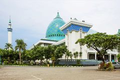Indonesia. Surabaya. Mosque Of Al Akbar. The great Mosque of Surabaya is the second largest in Indonesia. Large, beautiful mosque with blue domes with a height royalty free stock photo