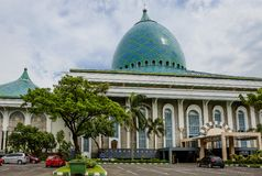 Indonesia. Surabaya. Mosque Of Al Akbar. The great Mosque of Surabaya is the second largest in Indonesia. Large, beautiful mosque with blue domes with a height stock photos