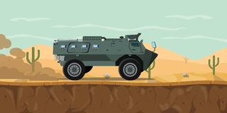 Indonesia tank transport personel vehicle anoa main battle tank on the desert with haze smoke on the road. Graphic illustration stock illustration