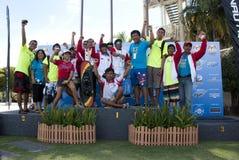 Indonesia Team of Water Ski. PUTRAJAYA, MALAYSIA - OCTOBER 9: Indonesia team celebrating their success at 2011 IWWF Asian Waterski & Wakeboard Championships in Stock Photo