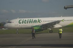 INDONESIA TO DOUBLE TRANSPORT BUDGET ON FUEL GAIN. A launching of new flight route of Indonesian Low Cost Carrier Citilink in Solo, Java, Indonesia. Indonesia Stock Photo