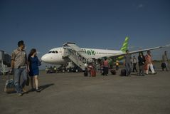 INDONESIA TO DOUBLE TRANSPORT BUDGET ON FUEL GAIN. A launching of new flight route of Indonesian Low Cost Carrier Citilink in Solo, Java, Indonesia. Indonesia Royalty Free Stock Photo