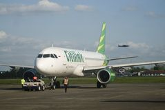 INDONESIA TO DOUBLE TRANSPORT BUDGET ON FUEL GAIN. A launching of new flight route of Indonesian Low Cost Carrier Citilink in Solo, Java, Indonesia. Indonesia Royalty Free Stock Image