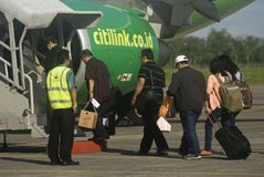 INDONESIA TO DOUBLE TRANSPORT BUDGET ON FUEL GAIN. A launching of new flight route of Indonesian Low Cost Carrier Citilink in Solo, Java, Indonesia. Indonesia stock photography