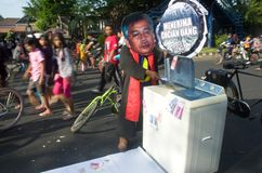 INDONESIA TO INVESTIGATE TOP LAW ENFORCEMENT OFFICIALS ON CORRUPTION. A protester mocks the former Chief Justice of Indonesian Constitutional Court Akil Mochtar stock images