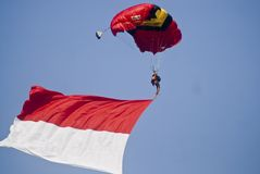 INDONESIA TO RENOVATE ASIAN GAMES FACILITIES. Parachutist participate at the 38th World Military Parachuting Championship in Solo, Java, Indonesia. The Asian Stock Image