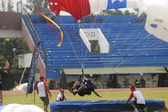 INDONESIA TO RENOVATE ASIAN GAMES FACILITIES. Parachutist participate at the 38th World Military Parachuting Championship in Solo, Java, Indonesia. The Asian Stock Photography