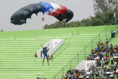 INDONESIA TO RENOVATE ASIAN GAMES FACILITIES. Parachutist participate at the 38th World Military Parachuting Championship in Solo, Java, Indonesia. The Asian Stock Images