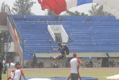 INDONESIA TO RENOVATE ASIAN GAMES FACILITIES. Parachutist participate at the 38th World Military Parachuting Championship in Solo, Java, Indonesia. The Asian Stock Photos
