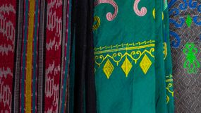 Indonesia traditional cloth with different pattern. Sold at souvenir market stock images