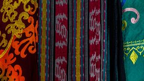 Indonesia traditional cloth with different pattern. Sold at souvenir market royalty free stock photography