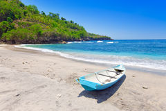 Indonesia.Traditional national boat on ocean coast Stock Photo