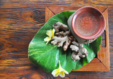 Indonesia Traditional Spice. Such as ginger and turmeric usually is used as herbal drink or raw material for traditional spa Royalty Free Stock Images