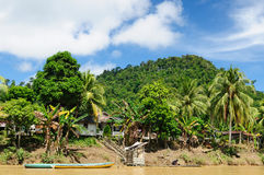 Indonesia - Village on the Kayan river, Borneo Stock Photography