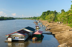 Indonesia - Village on the Mahakam river, Borneo Stock Photography