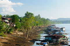 Indonesia - Village on the Mahakam river, Borneo Royalty Free Stock Photography