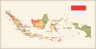 Indonesia - vintage map and flag - illustration Royalty Free Stock Image