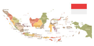 Indonesia - vintage map and flag - illustration Stock Images