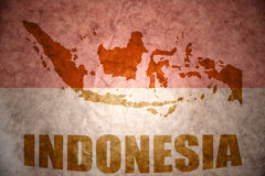 Indonesia vintage map. Indonesia map on a vintage Indonesian flag background stock images