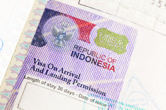Indonesia Visa Royalty Free Stock Images