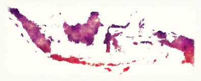 Indonesia watercolor map in front of a white background. Illustration Stock Photo