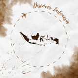 Indonesia watercolor map in sepia colors. Discover Indonesia poster with airplane trace and handpainted watercolor Indonesia map on crumpled paper. Vector stock image