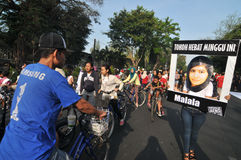 An Indonesian activists celebrate Malala Yousafzai Nobel Peace Prize award. Stock Images