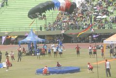 INDONESIAN AERO SPORTS. The World Military Parachuting Championships that was held in Solo, Java, Indonesia. Indonesian aero sports are housed within the Stock Photo