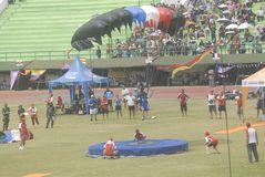 INDONESIAN AERO SPORTS. The World Military Parachuting Championships that was held in Solo, Java, Indonesia. Indonesian aero sports are housed within the Stock Images
